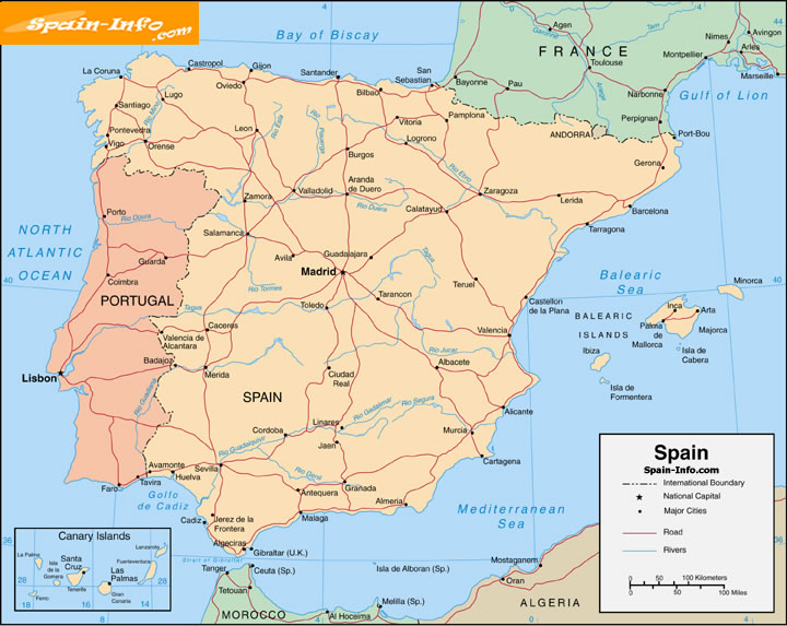 Printable Map Of Spain.Map Of Spain Large